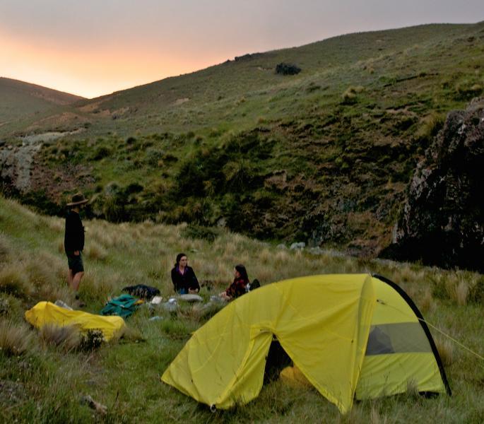 A makeshift campsite